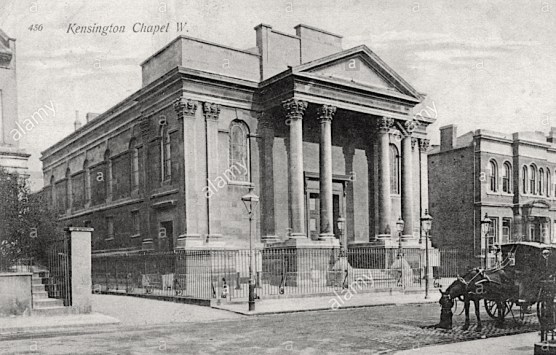 Kensington Chapel, Allen Street, London W8. Postcard c.1909. [Source: Alamy G3CP58]