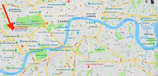 The location of the Kensington Chapel, London W8.