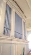 Organ case of the organ in St Clement's Church, King Square, London EC! (UK)