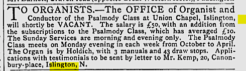 Advertisement for a new organist at the Union CHapel, Islington, London (UK) [Source: Source: The Musical Times, Vol. 16, No. 370 (Dec. 1, 1873)