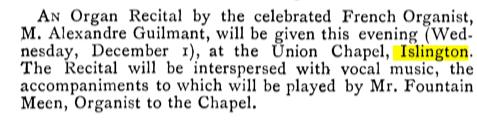 An organ recital at the Union Chapel, Islington, London *UK) [Source: The Musical Times, Vol. 21, No. 454 (Dec. 1, 1880)'