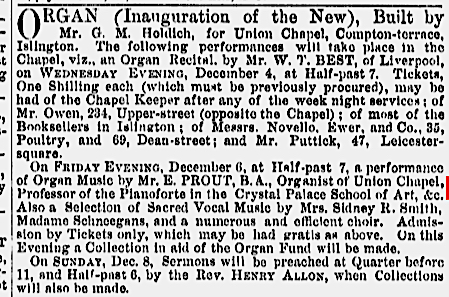 Inauguration festivities for the new Holdich organ in the Union Chapel Islington, London (UK) [Source: The Musical Times, Vol. 13, No. 298 (Dec. 1, 1867)