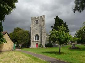 The east end of All Saints church Edmonton, north London, c.1980, showing the 15th-century tower.