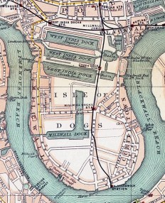 The Isle of Dogs. 'Pocket Atlas and Guide to London' (London: John Walker, 1899). Poplar is at the top centre of the map.