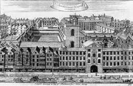 St Bartholomew's Hospital, Smithfield, c.1720, Henry VIII Gate (1703) with the church of St Bartholomew the Less behind.