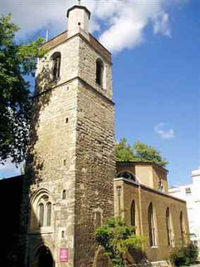 The medieval tower of St Bartholomew the Less, Smithfield, c.2000.