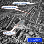 Aerial view (1957) of the home of Arsenal Football Club from 1913 until 2006. Aerofilms Collection. Annotated.