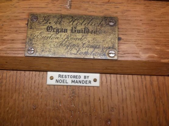 St Michael and All Angels church, Walthamstow, London E17. G. M. Holdich pipe-organ builder's plates.