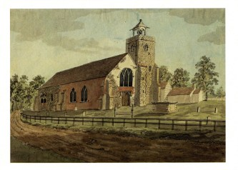 The church of St Mary's church Willesden, c.1807 seen from the west (Brent Archives Collection),