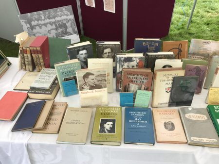 Collection of Siegfried Sassoon Books Including Numerous Signed First Editions & Rarities on Display ay Heytesbury Cricket Ground on 3rd September 2017.