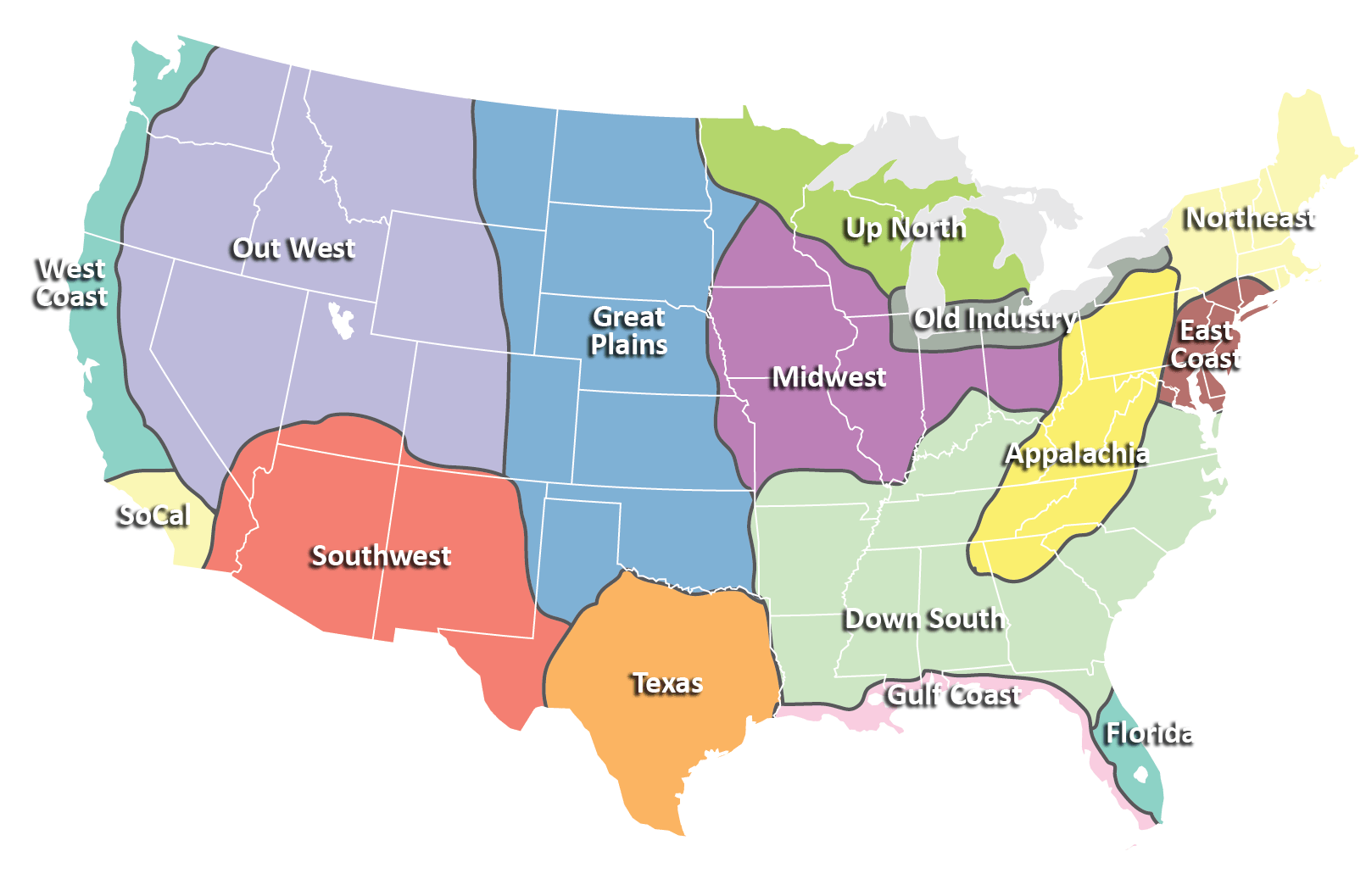 Regions Of The Continental United States According To Me