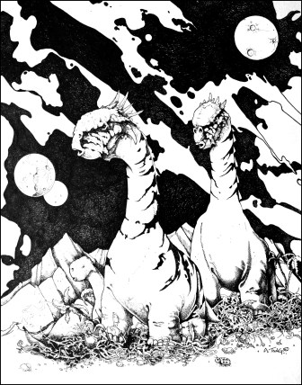 Drawing of a dino family on a planet with planets in the sky