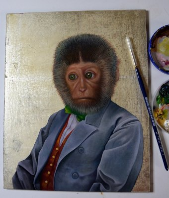 Oil painting of sad monkey in a blue jacked with green bow tie