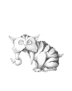 Drawing of small sabretoothed tiger with an apple stuck to one of his teeth