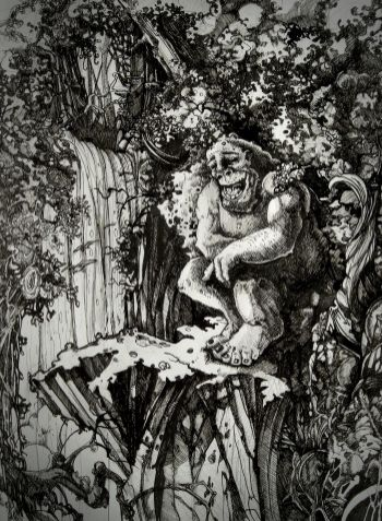 Drawing of friendly giant sitting next to a waterfall