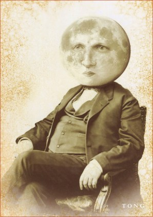 Digital collage with 1800-styled man with a moon as head
