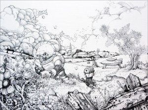 Pencil and ink drawing of aliens and their spaceship in an idyllic landscape