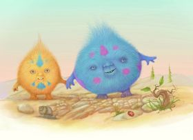 Digital drawing of two little fluffy creatures one yellow and one blue