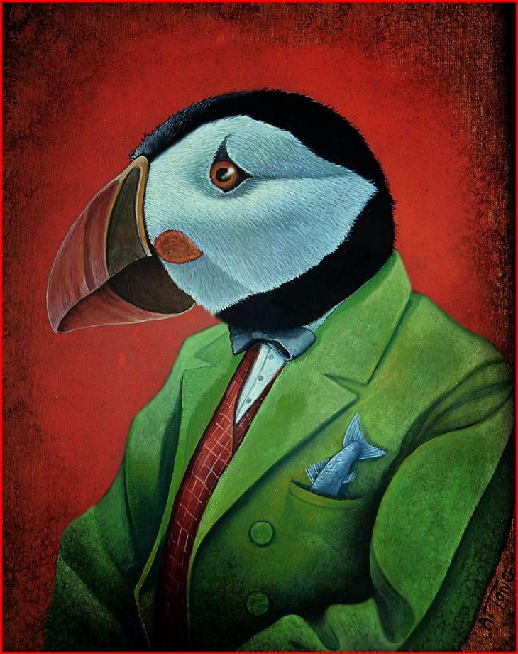 Oil painting of puffin dressed in a green suit with a fish tail sticking out of his pocket