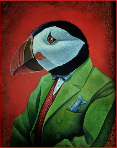 Oil painting of puffin dressed in a green suit with a fish in his pocket