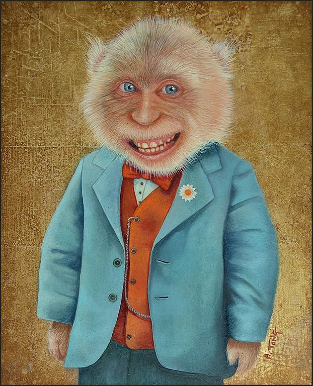 Oil painting portrait of grinning monkey dressed in a blue suit with a little flower