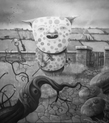Pencil drawing with spotted fantasy creature holding a rake and flowers standing in his garden
