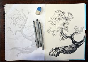 Open sketch book with pencil drawing of furry animal called Splot on top of tree