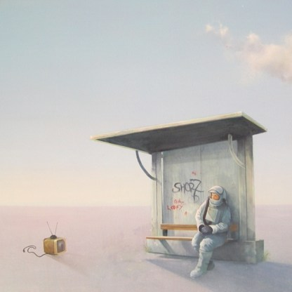 Painting of astronaut sitting at a bus stop watching tv
