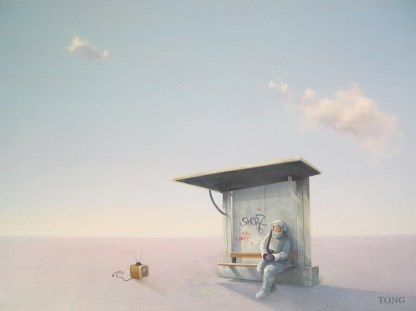 Acrylic painting of astronaut sitting at a bus stop watching tv in a desolate landscape