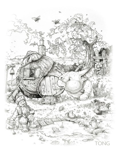 pencil drawing with fantasy creature in garden with snail house and dwarf catching fish
