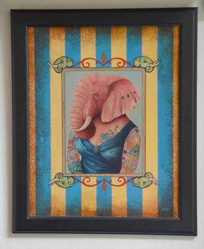 Oil painting of pink elephant lady with dark blue dress