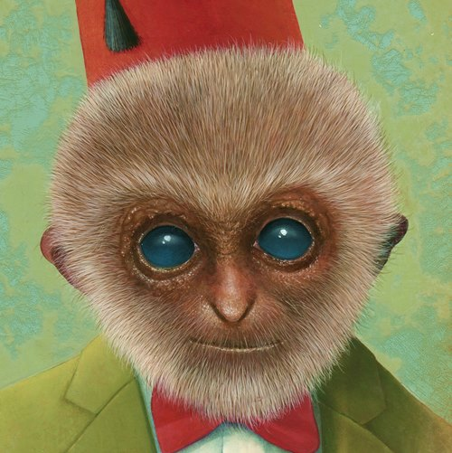 Oil painting of monkey man with green jacket red bowtie and red hat