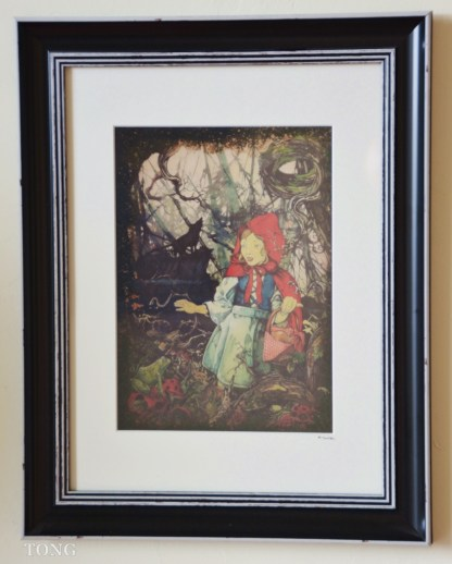 Illustration of red riding hood with wolf howling in the background