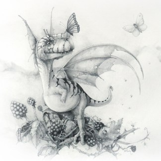 Pencil drawing of tiny dragon sitting in a blackberry bush