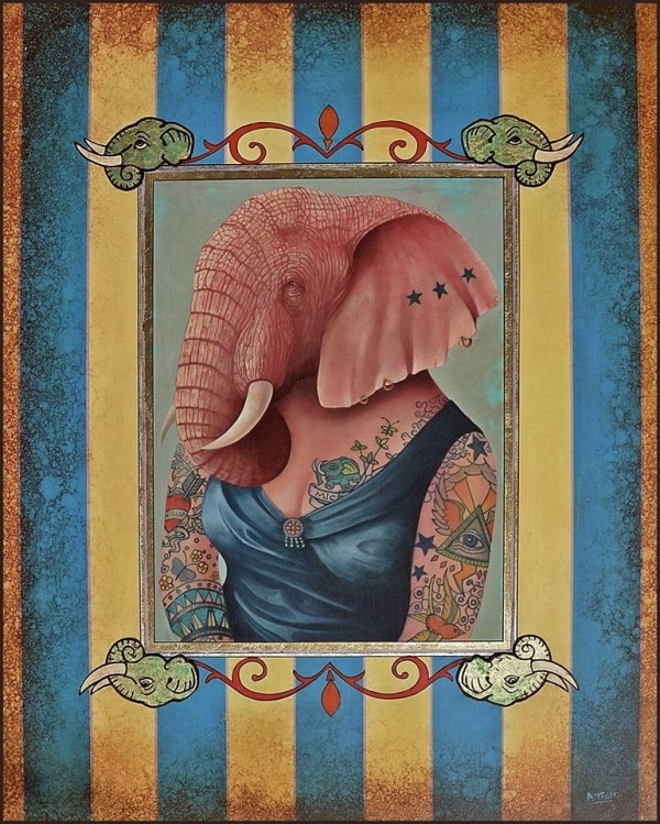 Oil painting of tattooed pink lady elephant with blue dress on a striped background