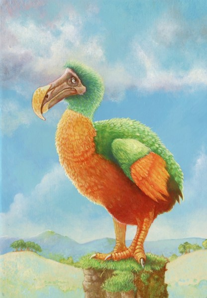 Colouful oil painting of dodo bird perched on a small rock