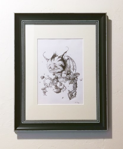 Framed pencil drawing of fantasy creature called the Plummet