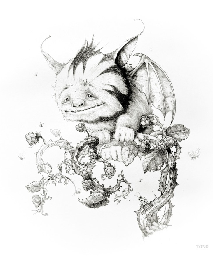 Artwork pencil drawing of fantasy creature called the Plummet
