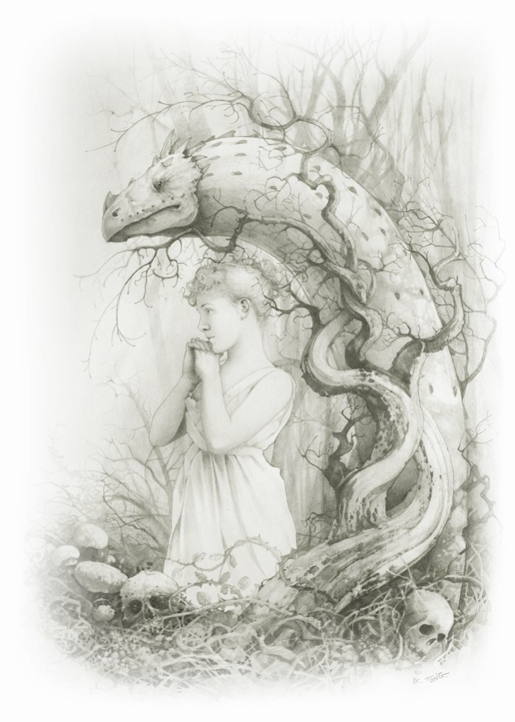 Pencil drawing of a white worm with a young woman in a white dress