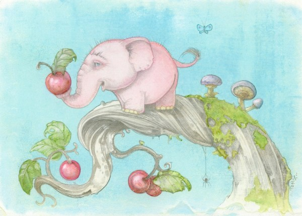 Artwork of dwarf pink treelephant standing on a branche holding a berry