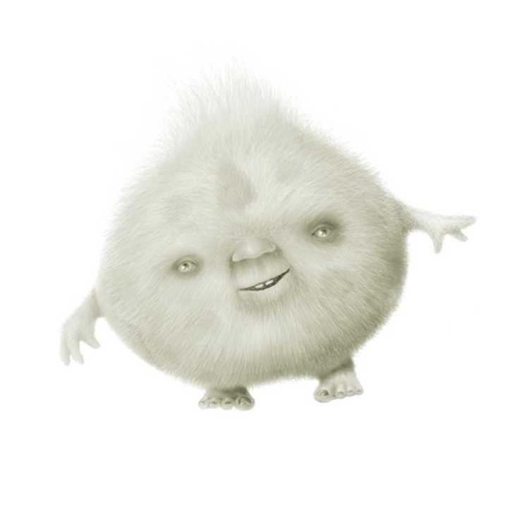 Digital fantasy art drawing of fluffy-looking hair ball creature