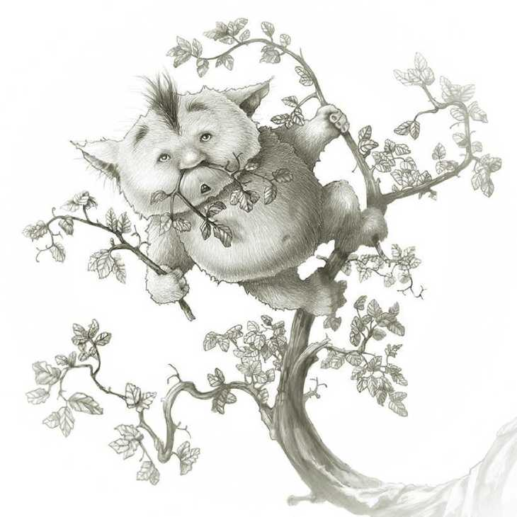 Andrew Tong Art Drawing of four-legged creature standing on a tree trying to camouflage with branches
