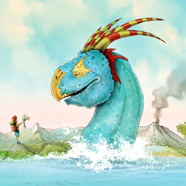 Drawing of fantasy water creature peeking out of the water facing a little boy at the shore holding flowers