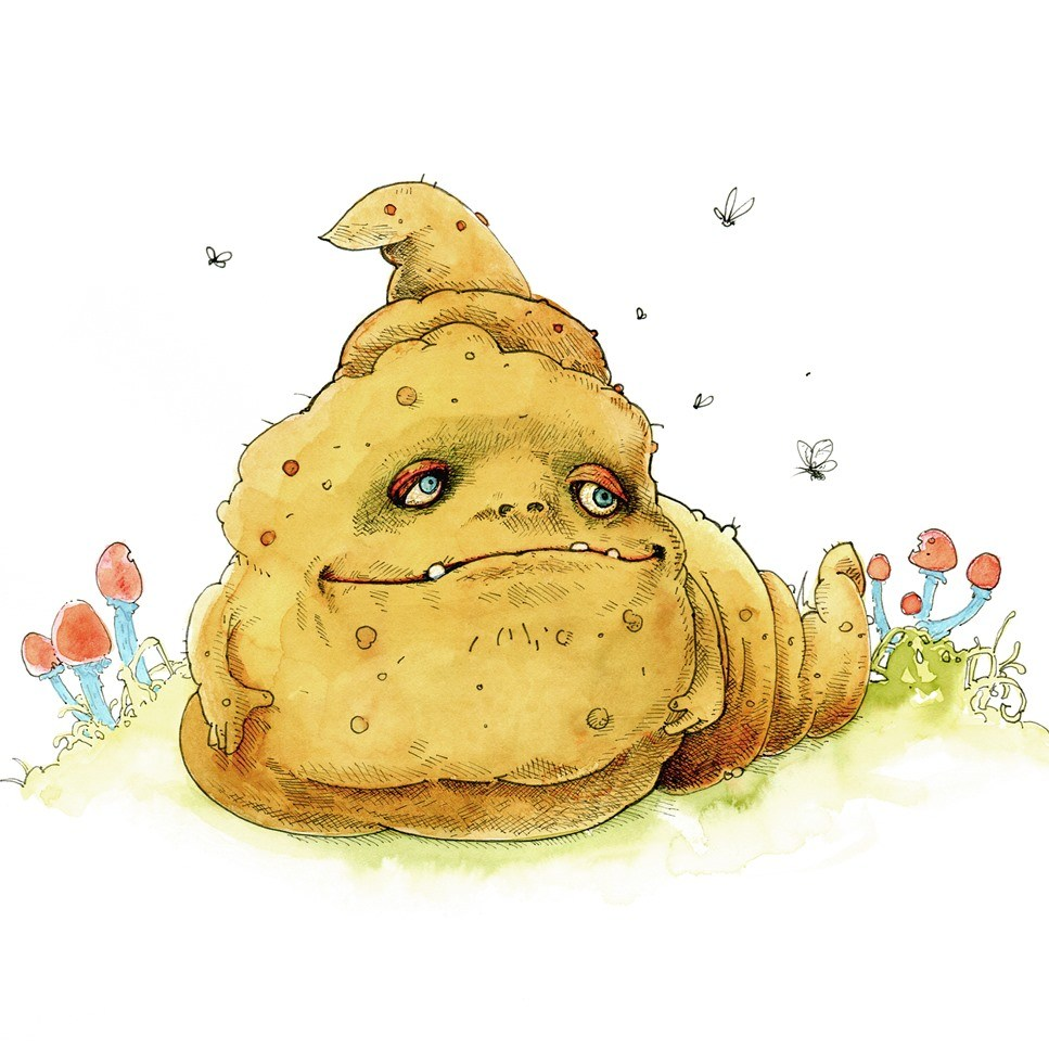 Drawing of poo with content face sitting on grass with mushrooms and flies buzzing around