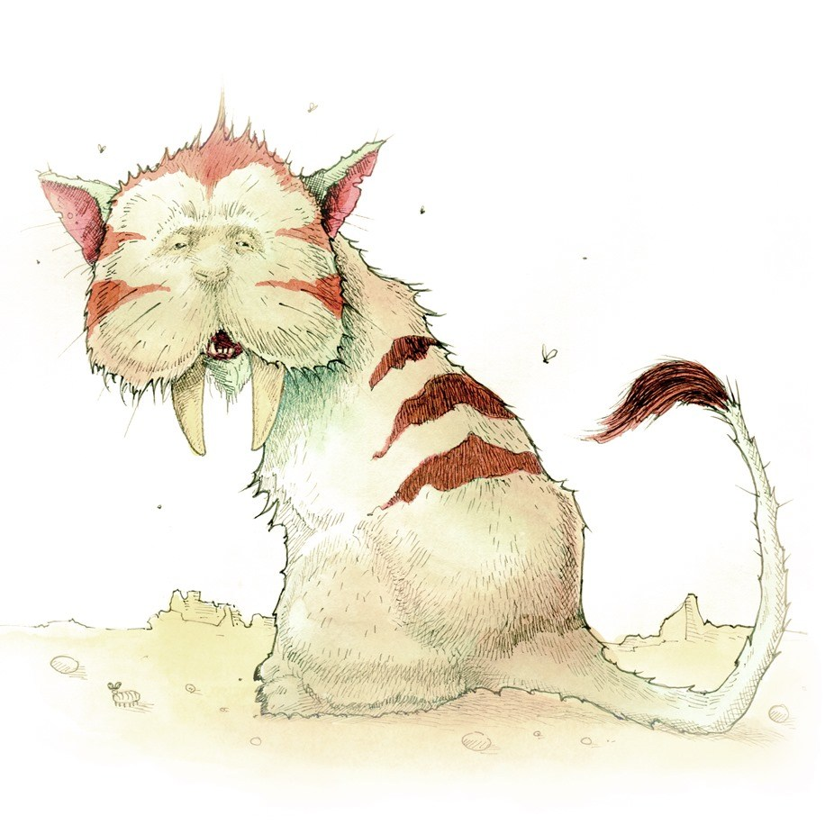 Fantasy drawing showing a tiger with two big teeth and red stripes with flies buzzing around