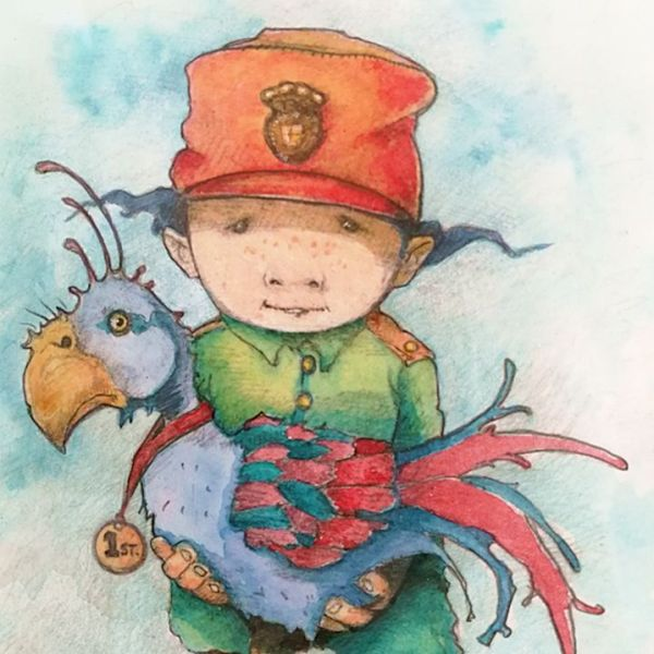 Drawing of explorer Edward Summersby with his Snoggle bird