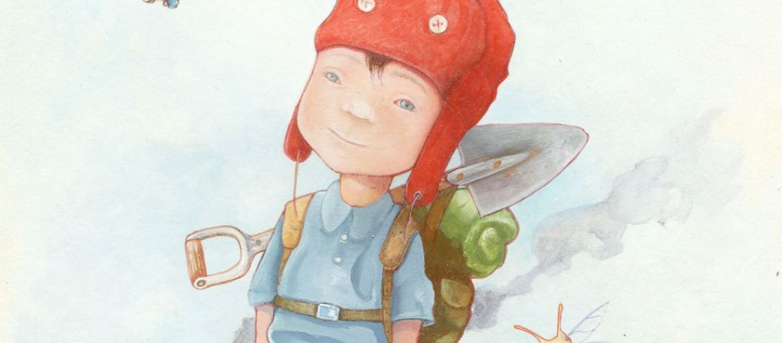 drawing of young explorer Edward Summersby with red hat, backpack and tiny, flying elephant