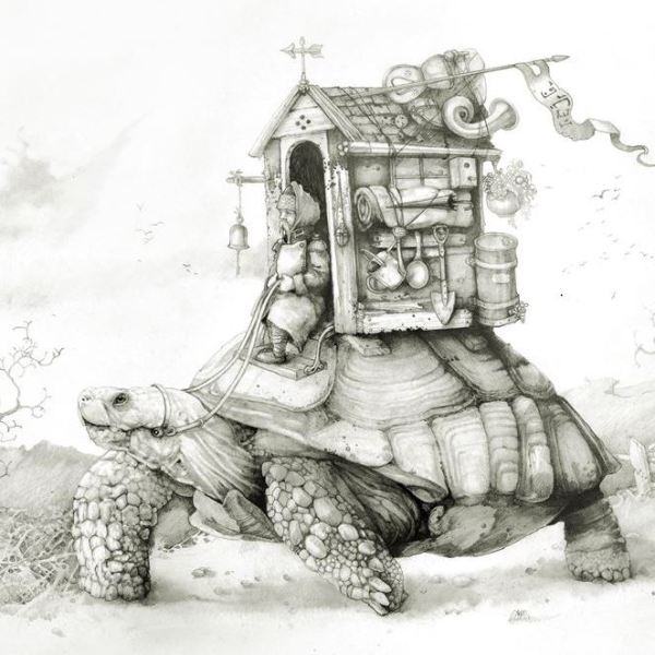 Print of explorer and his little house travelling on a turtle