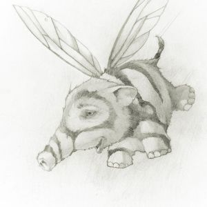 pencil drawing of tiny, flying elephant