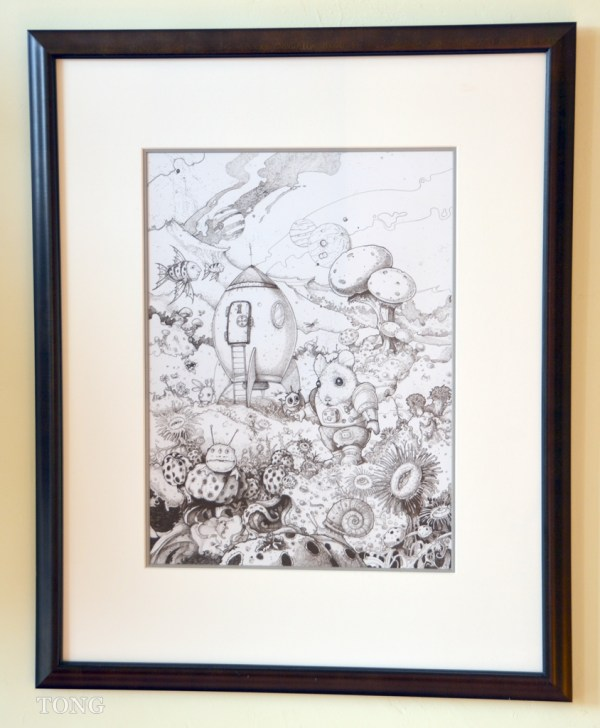 Framed ink drawing showing extraterrestrial life